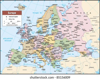 2012 Europe Political Continent Map