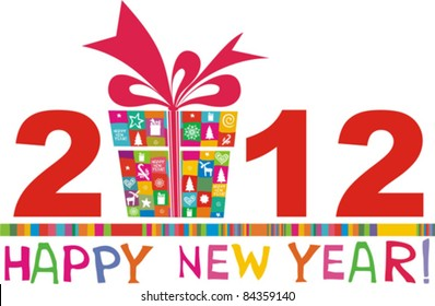 2012 happy new year greeting card or background vector illustration