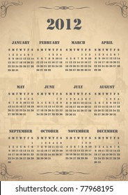2012 Old calendar in vintage style on aged, old paper