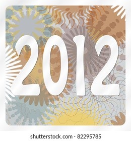 2012 on abstract circular background with various circle shapes in metallic colors