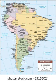 2012 South America Political Continent Map