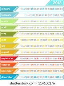 2013 calendar in bright colorful tabs