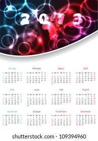 2013 calendar design with white background and plasma header