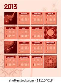 2013 Calendar. Eps10 Vector Illustration.