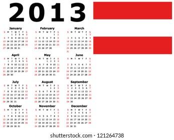 2013 calendar flag singapore stock vector royalty free 121269184