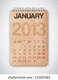2013 Calendar January Grunge Texture