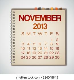 2013 Calendar November Notebook Vector