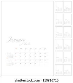 2013 Calendar template with picture space