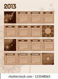 2013 Calendar. Vector.