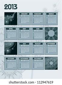 2013 Calendar. Vector Design.
