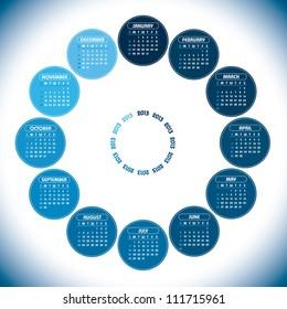 2013 Calendar. Vector Eps10 Design.