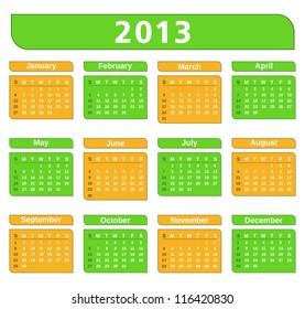 2013 Calendar, vector eps10 illustration