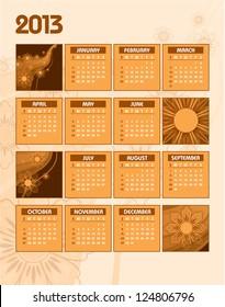 2013 Calendar. Vector Illustration.