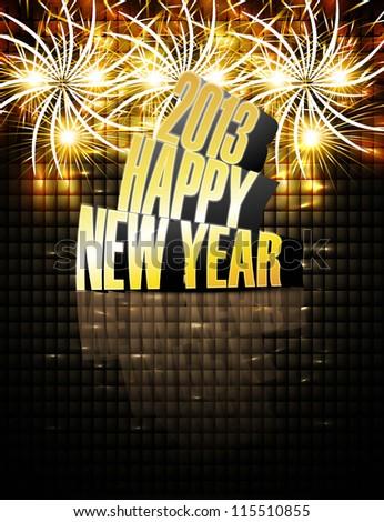 2013 Happy New Year Reflection Celebration Stock Vector (Royalty ...