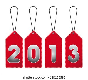2013 red tags isolated over white background. vector illustration