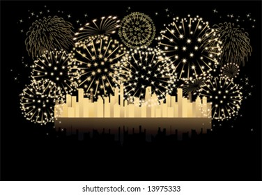 2013  year new year fireworks Let's celebrate together (vector)