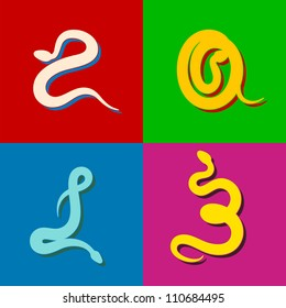 2013 Year of Snake � Four Snakes. Artwork/typography in pop art style.