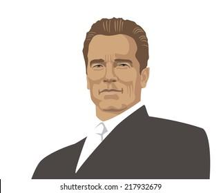 2014, 18 september: vector illustration, portrait of 38th Governor of California, Arnold Schwarzenegger on white background