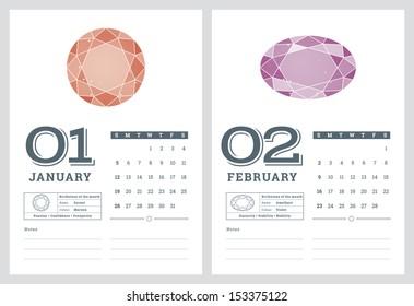 2014 calendar, birthstones series 2 of 7