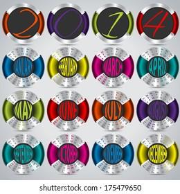2014 calendar design with metallic circles on gray