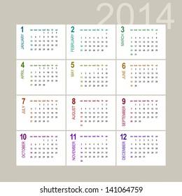 2014 calendar design on light background - week starts with sunday