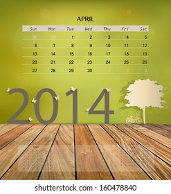 2014 calendar, monthly calendar template for April. Vector illustration.