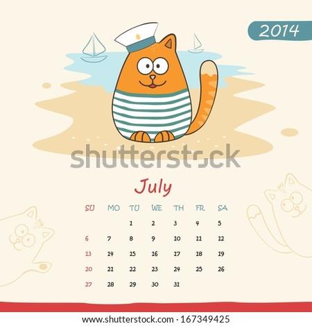 2014 Calendar Monthly Calendar Template Cats Stock Vector Royalty