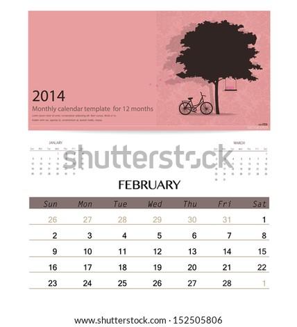 2014 Calendar Monthly Calendar Template February Stock Vector