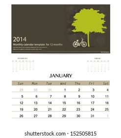 2014 calendar, monthly calendar template for January. Vector illustration.