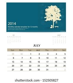 2014 calendar, monthly calendar template for July. Vector illustration.