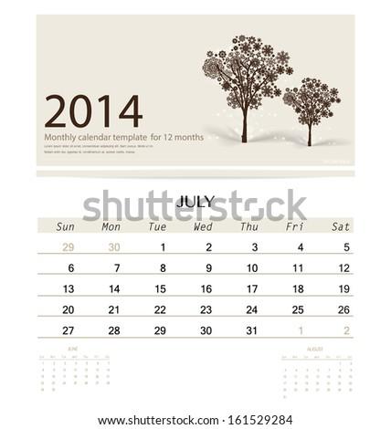 2014 Calendar Monthly Calendar Template July Stock Vector Royalty