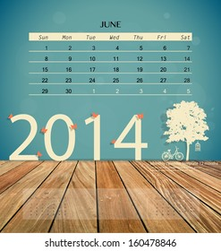 2014 calendar, monthly calendar template for June. Vector illustration.