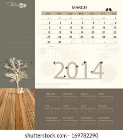 2014 calendar, monthly calendar template for March. Vector illustration.