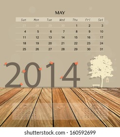 2014 calendar, monthly calendar template for May. Vector illustration.