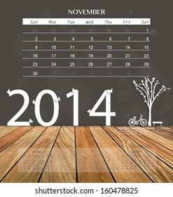 2014 calendar, monthly calendar template for November. Vector illustration.