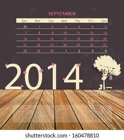 2014 calendar, monthly calendar template for September. Vector illustration.