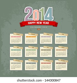 2014 Calendar paper design, Vector illustration