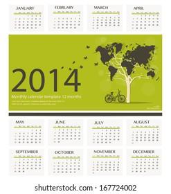 2014 calendar, tree shaped world map design. Vector illustration.