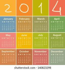 2014. Calendar. Vector.