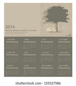 2014 calendar. Vector illustration.