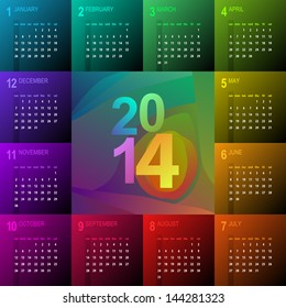 2014 calendar with vibrant colors - week starts with sunday