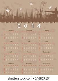 2014 calendar year in vintage style