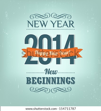 2014 - Calligraphic New Year Greeting Design Layout In Vector Format