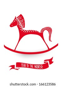 2014 Chinese New Year of the Horse red cute silhouette isolated illustration. EPS10 vector file with transparency layers.