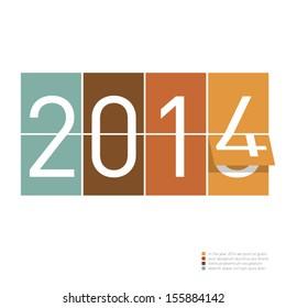 2014 greeting idea - graphic design background in retro vintage colors