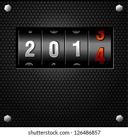 2014 New Year Analog Counter detailed vector