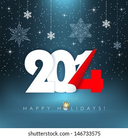 2014 new year. Happy holidays background with snowflakes. Vector EPS 10 illustration.
