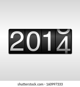 2014 New Year Odometer - New Year 2014 design - odometer style with white background. EPS8 file.