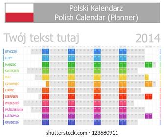 2014 Polish Planner Calendar with Horizontal Months - Shutterstock ID 123680911