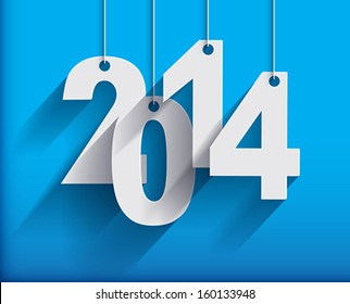 2014 White Paper Origami  cards on blue background. Vector illustration.